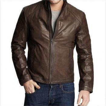 MENS BIKER LEATHER JACKET, MEN BROWN MOTORCYCLE JACKET, REAL LEATHER JACKET