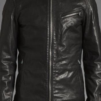 MENS BIKER LEATHER JACKET, MEN BLACK MOTORCYCLE JACKET, REAL LEATHER JACKET