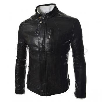 MEN SLIM FITT LEATHER JACKET, BLACK BIKER LEATHER JACKETS, MEN'S JACKETS