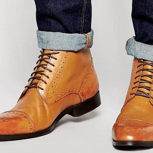 handmade leather side zipper boots mens genuine