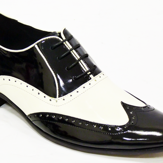 HANDMADE MENS BROGUE BLACK AND WHITE LEATHER SHOES,MEN LEATHER SHOES, MEN SHOES
