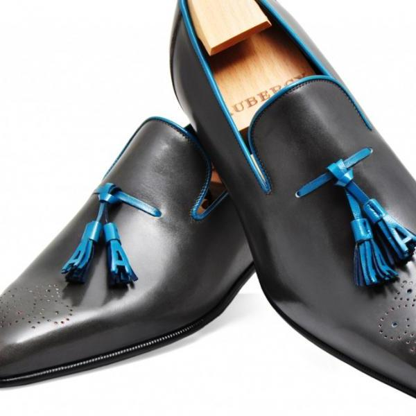 Handmade mens shoes, Mens black Tassels leather shoes, Men dress leather shoes