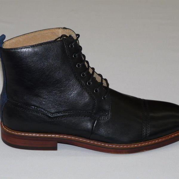 Handmade mens Ankle-high leather boots, Mens Black real leather boots, men leather boots