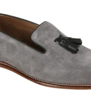 Handmade men light gray color loafer and slip ons, Mens gray suede leather shoes