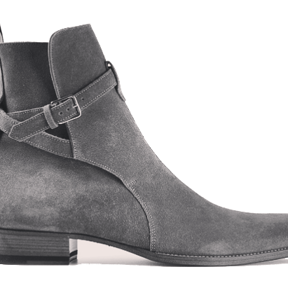 Handmade jodhpurs ankle boot, Men gray ankle high suede leather boot, Mens boot