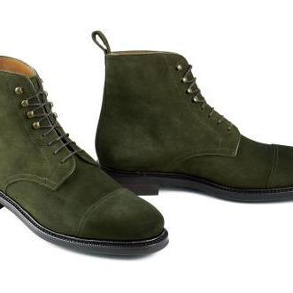 Handmade mens hunter green ankle boots, Men suede boot, Men ankle high suede lace up boots