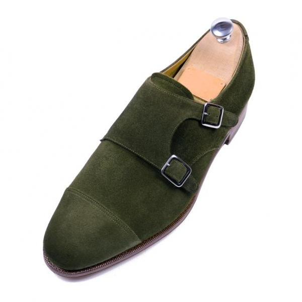 Handmade men dress suede leather oxford double monk shoes,Men Hunter green shoes