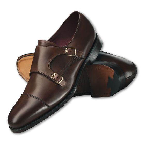 Handmade men dark brown dress shoes, Mens leather monk shoes, Mens formal shoes