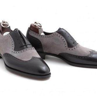 Handcrafted Men Black And Gray Wingtip Brogue Formal Shoes, Tuxedo Dress Shoes