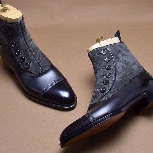 Handmade mens leather boots, Men two tone ankle boot, Men black and gray boot