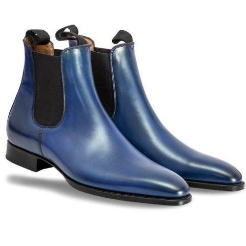 Handmade Men's fashion Navy blue Chelsea leather boot, Men ankle leather boots
