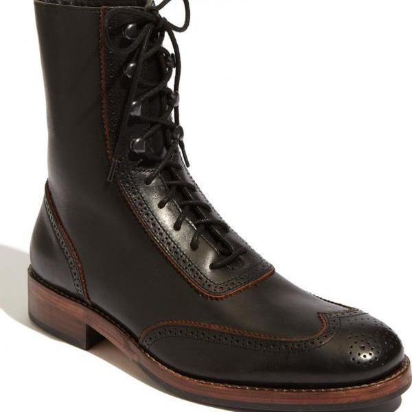 Handmade Men Combat Boot, Men Military Style Leather Boots, Soldier Leather