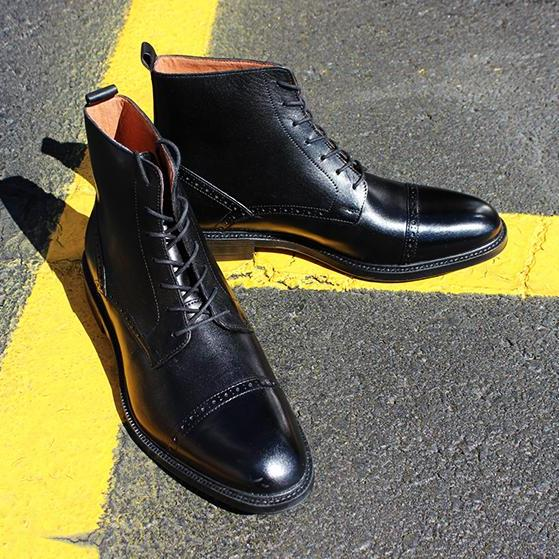 Handmade Mens black Cap toe lace up boot, Men ankle leather boot, Men black boot