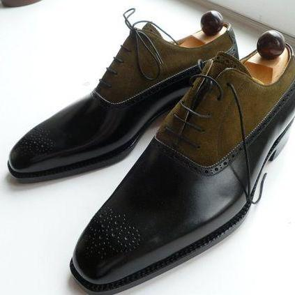 Handmade men two tone shoes, Mens fashion laceup formal shoes, Men dress shoes