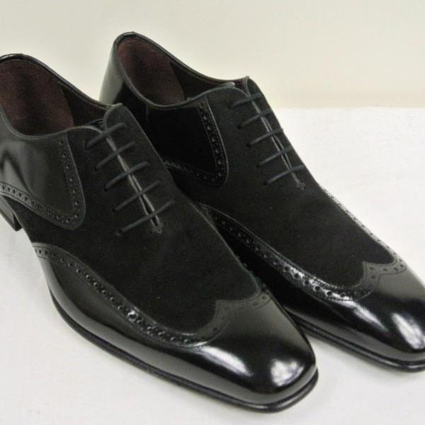 Handmade Mens formal shoes, Men Black wing tip suede and leather dress shoes