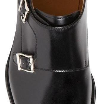 Double Monk Leather Dress Shoes