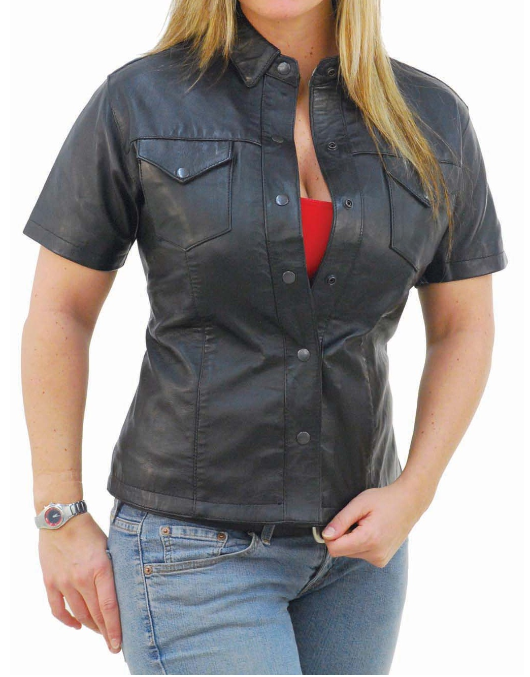 Womens leather shirt short sleeves shirt for women on luulla for Red leather shirt for womens