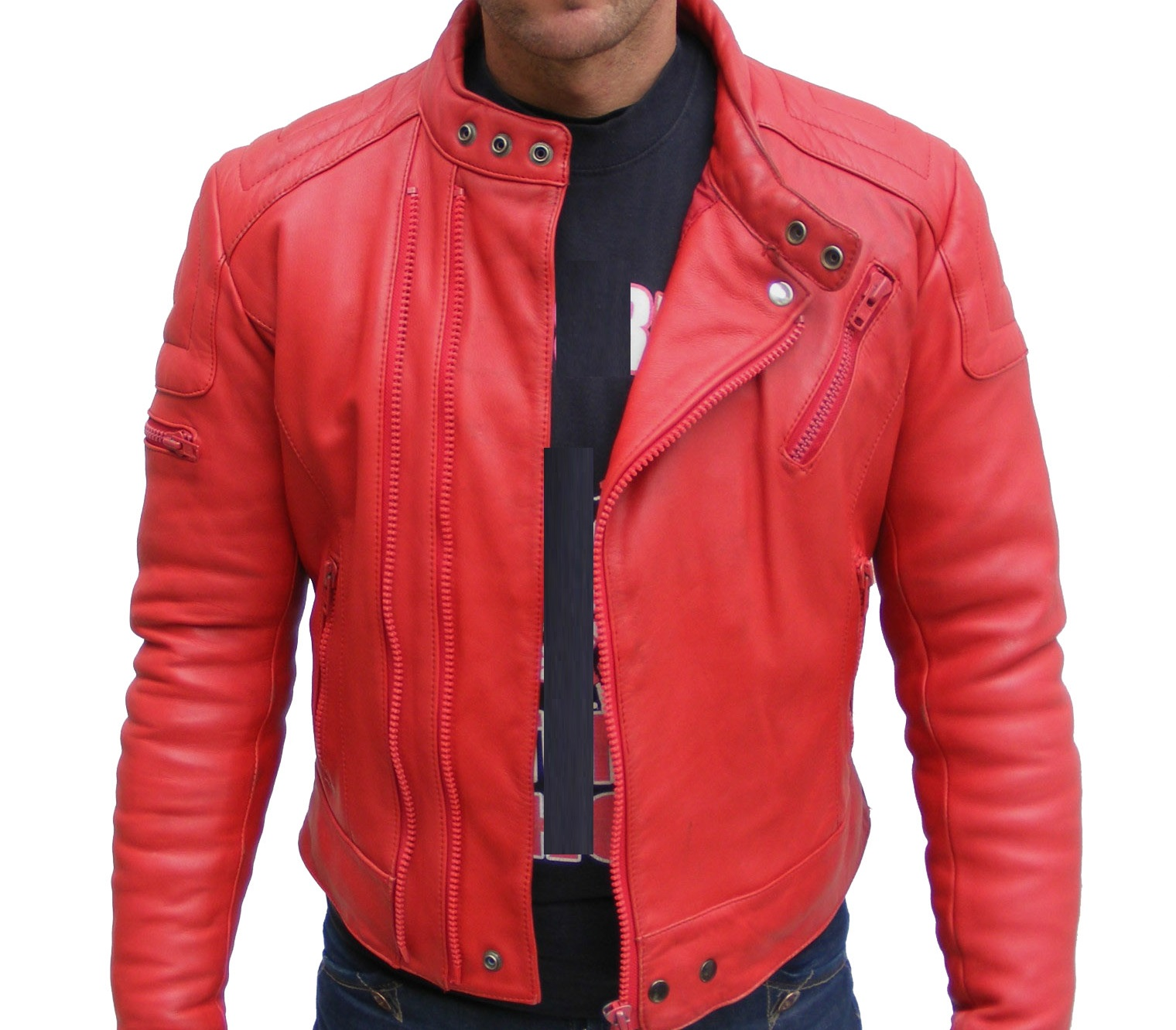 MENS BOMBER LEATHER JACKET, RED COLOR JACKET MEN, LEATHER JACKET ...