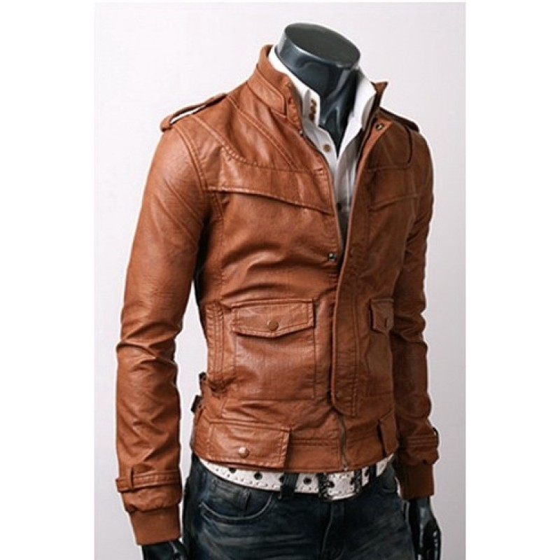 SLIM-FIT LIGHT BROWN LEATHER JACKET MENu0026#39;S LEATHER JACKETS BIKER LEATHER JACKET On Luulla