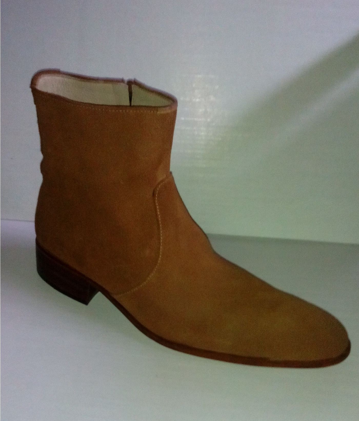 Handmade Tan Brown Boots, Men Suede Leather Boots, Side Zipper ...